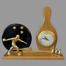 Vintage Electric Mantle Clock with Bowling Theme - ca1950's – 1960's