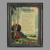 "Vintage Motto Poem Print by John Jarvis Holden  ""Mother! Home!"" 1920's"