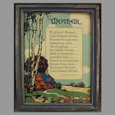 "Vintage Motto Poem Print by John Jarvis Holden  ""Mother! Home!"" 1920's"