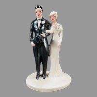 Large Vintage Bride and Groom –  1920's Chalkware Wedding Cake Topper