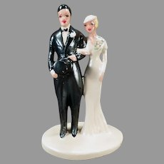 Large Vintage Bride and Groom –  1920's Chalkware Wedding Cake Topper