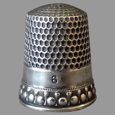 Vintage Sterling Silver Thimble with Nice Edge Design – Small, Size 6