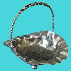 Vintage Silver Plate Candy Bowl Bride's Basket with Palmer Cox Brownies & Ruffled Edge