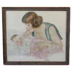 Vintage Framed Print – Maud Tousy Fanfel - Baby with Adoring Mother