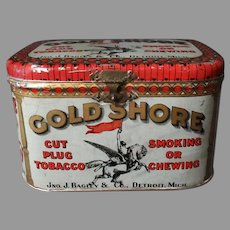 Vintage Tobacco Tin - Gold Shore Cut Plug Tobacco Lunch Box Style Tin