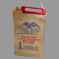 Vintage Eagle Brand Radiator Water Bag with Original Wood Handle and Paper Label