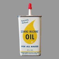 Vintage Advertising Tin - Sewing Machine Oil Tin with Large Drop of Oil Graphics