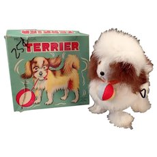 Vintage Wind-up Toy Dog - Rabbit Fur Covered Terrier with Original Alps Box