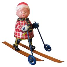 Vintage Tin & Celluloid Occupied Japan Wind Up Toy – Cross Country Skier