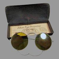 Vintage Yellow Tinted Willson Albex Eye Protector Safety Goggles - Eye Glasses with Tin