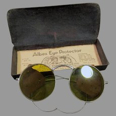 Vintage Yellow Tinted Willson Albex Eye Protector Safety Goggles - Eye Glasses with Tin