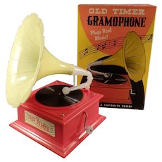 Vintage Old Timer Gramophone - Toy Music Box with the Original Box