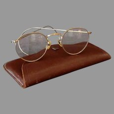 Vintage Bausch & Lomb Hibo Eyeglasses - Gold Filled Cable Temple Frames, Clear Lenses