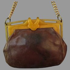 Vintage Leather Hand Bag Purse with Butterscotch Bakelite/Lucite Frame & Chain Handle