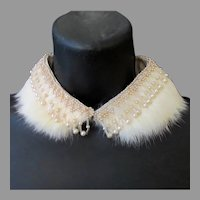Fancy Vintage Neckline Enhancement – Rabbit Fur and Faux Pearl Beaded Peter Pan Collar