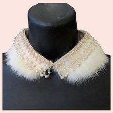 Fancy Vintage Neckline Enhancement – Rabbit Fur and Faux Pearl Beaded Peter Pan Collar