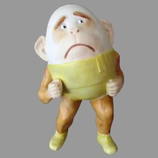 Vintage German Bisque Whimsy – Funny Monkey Egg Head Novelty Match Holder