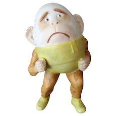 Vintage German Bisque Whimsy – Funny Monkey Egg Head Novelty Match Holder