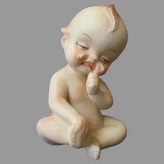 Vintage Porcelain – Crying Baby Kewpie Figurine with Hurt Foot