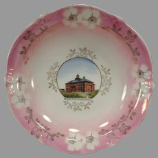 Vintage Souvenir Bowl of Historic Sprague, Washington - High School Building