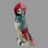 Colorful Vintage Pottery Flower Frog Bird with Long Tail Feathers - Nice Colors