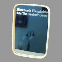 Vintage Celluloid Framed Advertising Travel Mirror - Newbro's Herbicide Dandruff