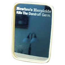 Vintage Celluloid Framed Advertising Travel Mirror - Newbro's Herbicide Dandruff