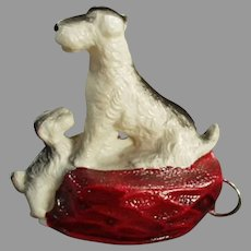 Vintage Figural Celluloid Tape Measure - Terrier Dog with Little Puppy