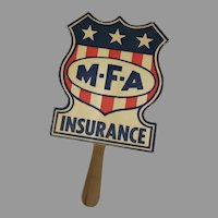 Vintage MFA Insurance Company Advertising Paper Fan