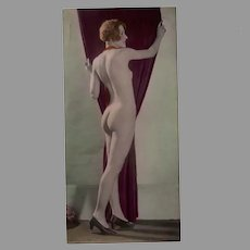 Vintage Hand Tinted Photograph of a Posed Nude Woman - circa 1920's
