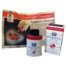 Vintage Wernet's Denture Powder Sample - Little Tin with Original Box