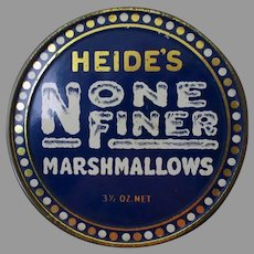 Vintage Heide's None Finer 3 ½ Oz Marshmallow Tin – Very Nice Condition