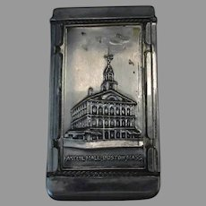 Vintage Souvenir Vesta Case or Match Holder - Boston Bunker Hill & Faneuil Hall