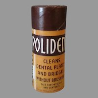 Vintage Polident Denture Tooth Powder Sample - Small Cardboard Container