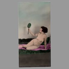 Vintage 1920's Hand Tinted Photo - Posed Nude Woman with Handheld Mirror