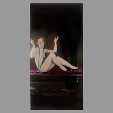 Vintage 1920's Hand Tinted Photo - Posed Nude Woman Photograph
