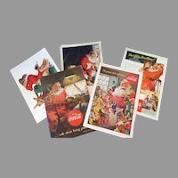 Vintage Coca-Cola Magazine Ads with Santa Claus - Group of 5, 1940's-1950's