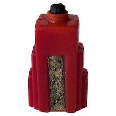 Miniature Red Glass Perfume Bottle from France – Deco Skyscraper Design