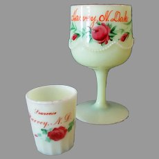 Two Vintage Custard Glass Souvenirs - Toothpick and Goblet from Harvey N.Dakota