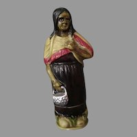 Vintage Perfume Holder - Celluloid Indian Woman with Glass Vial - Germany