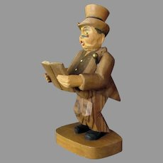 Vintage Anri Wood Figure –Carved Man with Open Book - Labeled