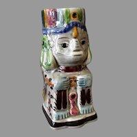Large Vintage Mexican Pottery Mug – Aztec Sphinx-Like Image