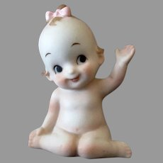 Little Vintage Porcelain Kewpie-Like Girl Waving Hello - Pink Bow