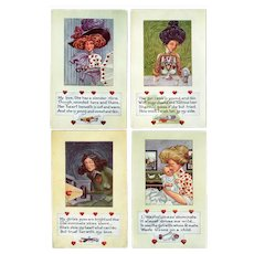 Four (4) Vintage Valentine Postcards – Life Comic Series – Lovely and Humorous
