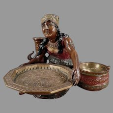 Vintage Peasant Woman Card Receiver and Ashtray - Beautiful Desk Item