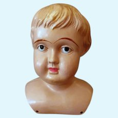 Large Vintage Celluloid Shoulder Head Doll – Upward Glancing Eyes, Painted Facial Features