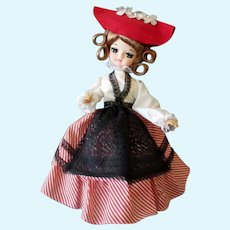 Vintage Musical Bradley Fashion Doll, Plays Michelle – Original Hang Tag marked France