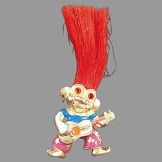 Vintage Orange Haired Troll Doll - Neck Pendant