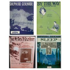 Four Pieces of Vintage Sheet Music – Four Different Songs – Some Nice Graphics