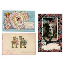 Three (3) Vintage Valentine Postcards from the Early 1900's